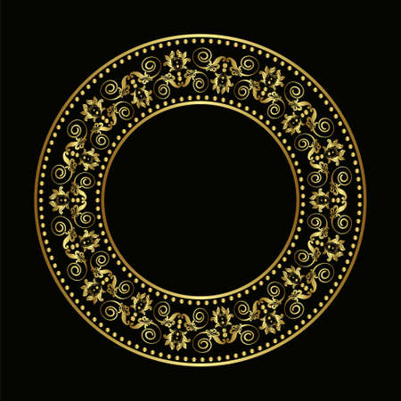 silhouete: Golden plate with vintage ornament on black background