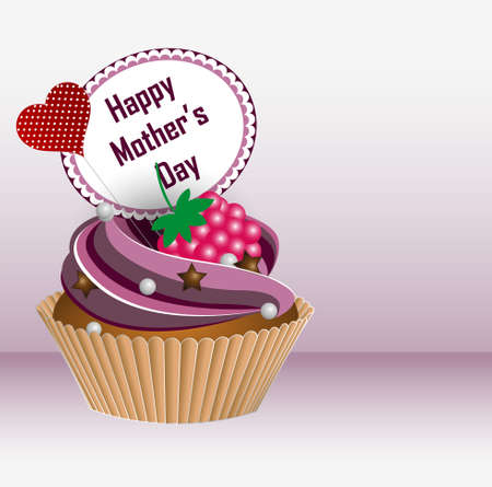 Happy Mother s Day  Greeting card  Cupcake  Vector Illustration Vector