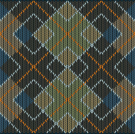 vintage weaving: Vector Seamless Argyle Sweater Background, Detailed Illustration