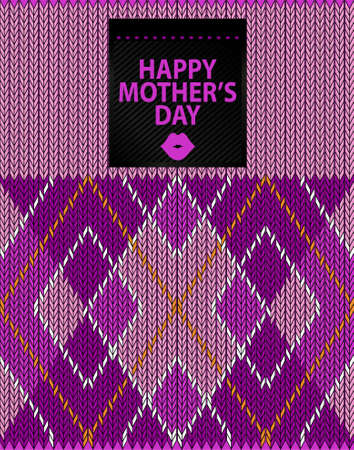 Argyle Sweater Background and happy mother s day Vector