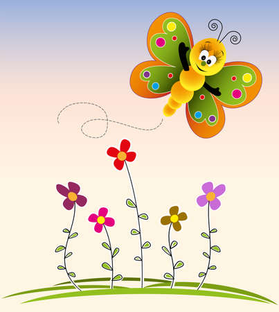 Cute kids cartoon with flowers and butterfly