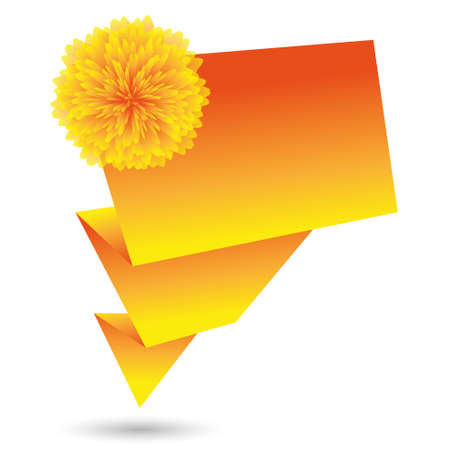 origami paper banner and flower Vector