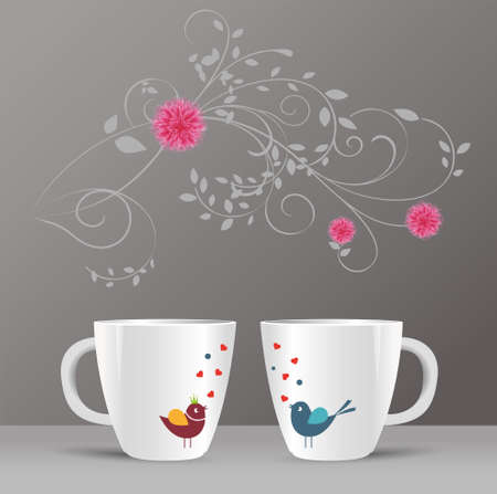 pattern of birds and spring flowers in a cup Vector
