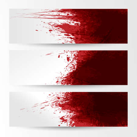 blood flow: set of three banners, abstract headers with red blots