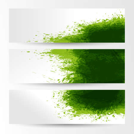 corporate people: set of three banners, abstract headers with green blots Illustration