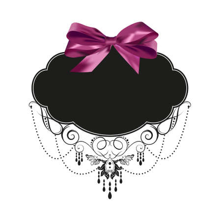 Vintage label with a purple bow Vector