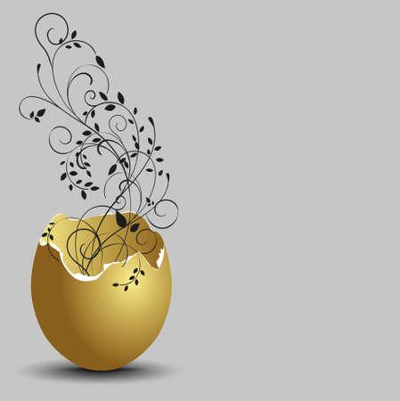 cracked egg: gold ornamental flowers emerging from broken egg shells