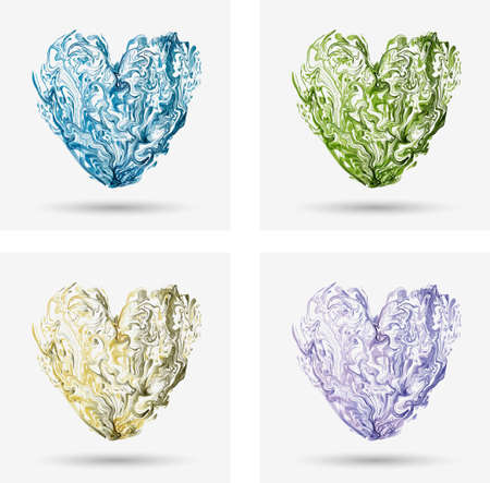 marbling: marbling, glass heart