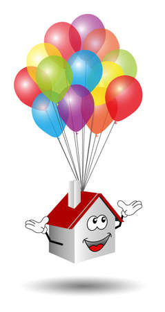 welcome home: Cute house flying on colorful balloons