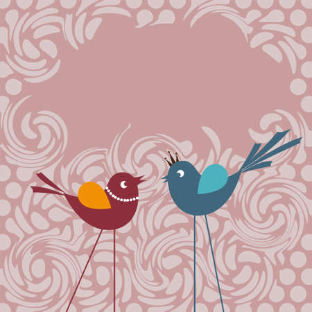 communicating: Two little birds communicating with each other