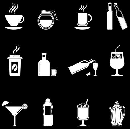 Vector black drinks   beverages icons set Vector