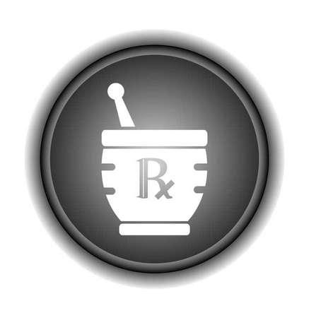 Mortar   Pestle Sign - Herbal Medicine  Illustration