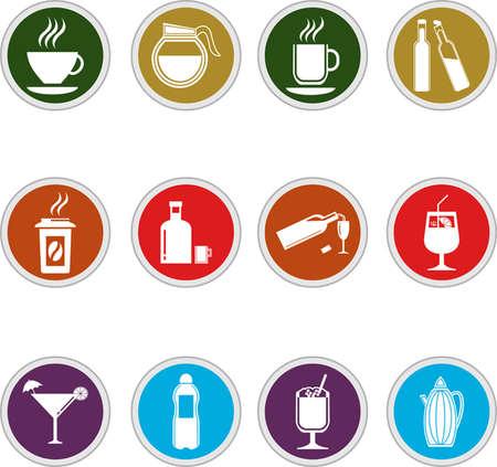 garnish: Vector black drinks   beverages icons set