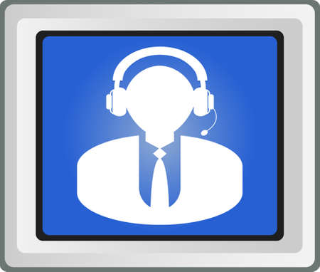 Man s head in headphones - Vector icon  Vector