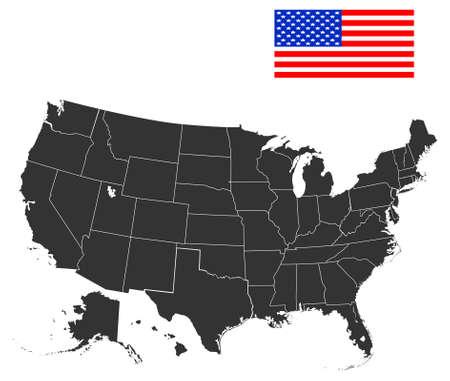 Kaart van de VS in zwarte kleur Vector illustratie