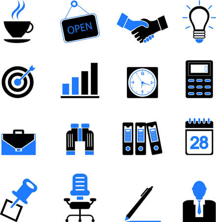 office icons: business and office icons set Illustration