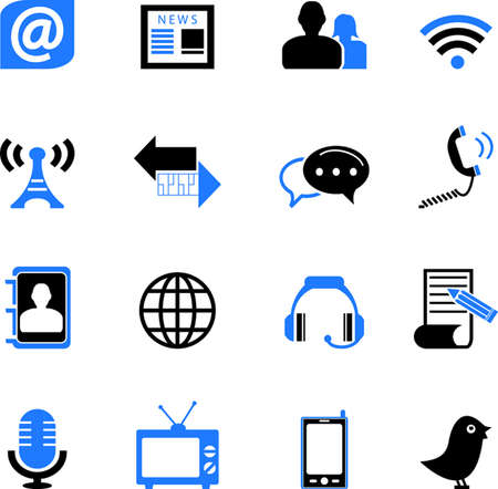 adress book: Communication and Media Icons Set Illustration