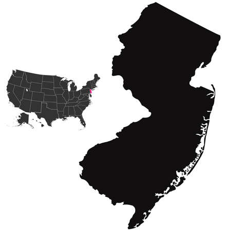 county somerset: new jersey map Illustration