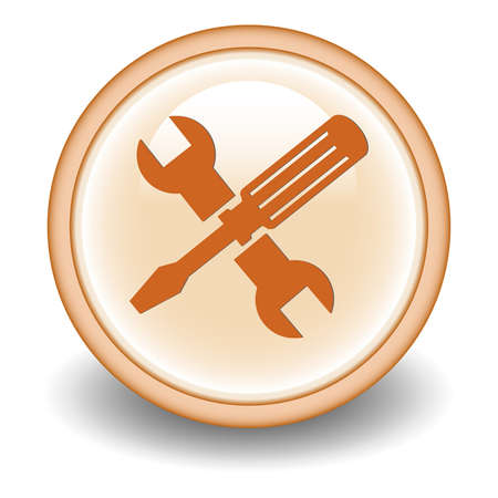 chrome man: Screwdriver and Wrench Icon  Vector