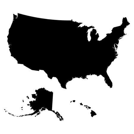 Map of USA in black color illustration