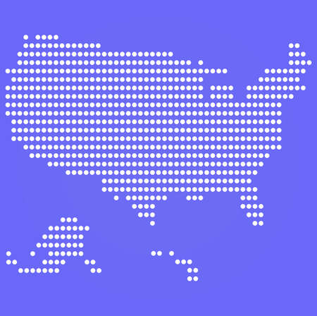 Dotted USA map on blue  Vector