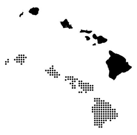 Gestippelde en Silhouette Kaart van Hawaï