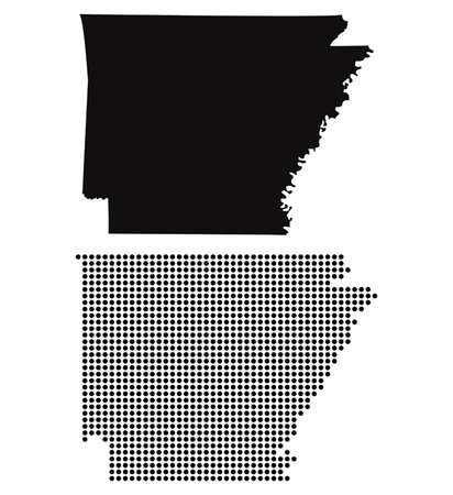 arkansas state map: Dotted and Silhouette State of Arkansas map
