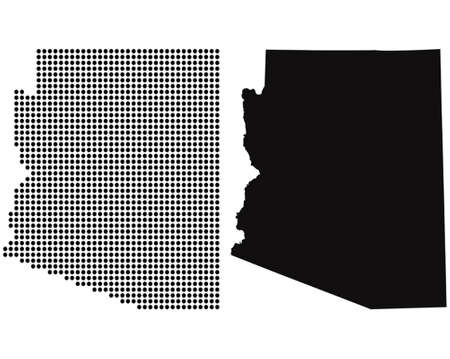 Dotted and Silhouette State of Arizona map  Vector