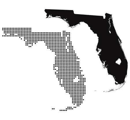 Dotted and Silhouette florida map  Vector