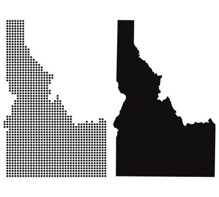 Dotted and Silhouette idaho map  Vector