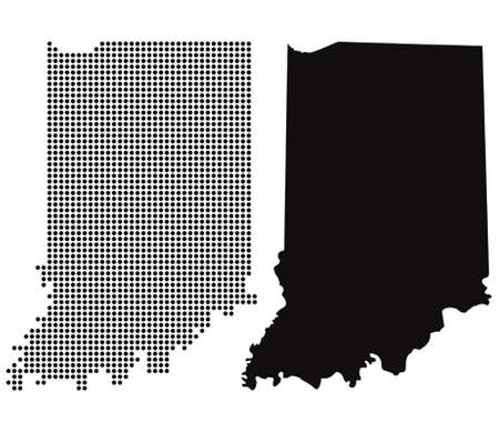 indiana: Dotted and Silhouette indiana map  Illustration