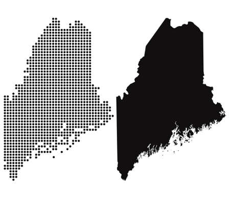 Dotted and Silhouette Maine map  Vector
