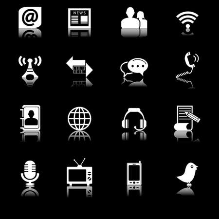 adress book: Communication and Media Icons Set