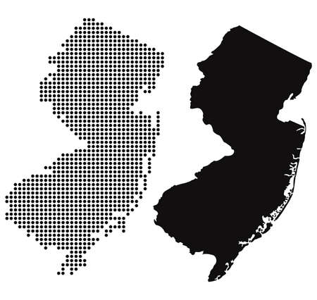 Gestippelde en Silhouette Kaart van New Jersey