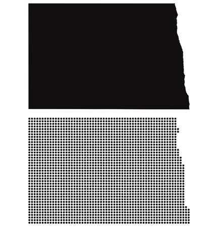 Dotted and Silhouette North Dakota map  Vector