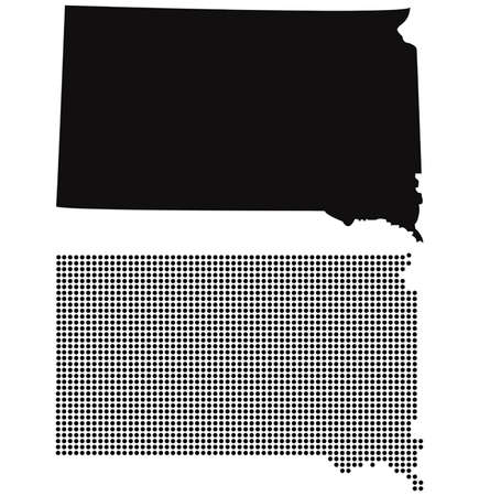 Dotted and Silhouette south dakota map  Vector