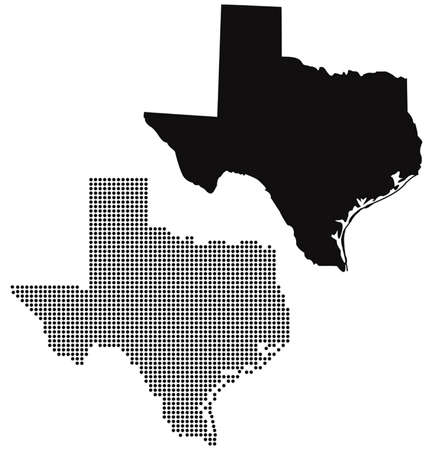 dotted and silhouette texas map vector