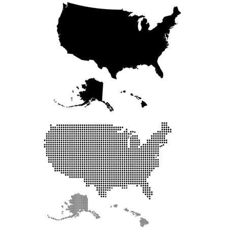 naciones unidas: Punteada y silueta de estados unidos mapa