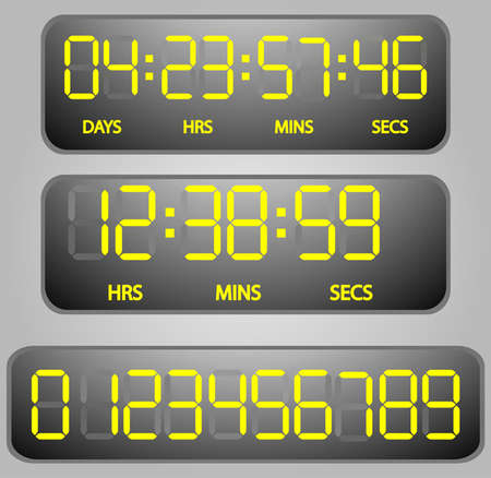 vector Yellow glowing digital numbers - countdown timer Vector