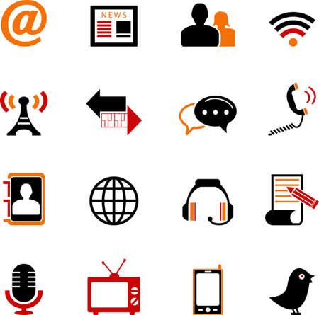 Communication and Media Icons Set Illustration