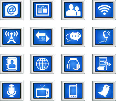adress book: Communication and Media Icons Set Illustration