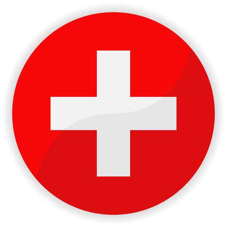 zwitserland vlag: Zwitserland vlag glanzende knop