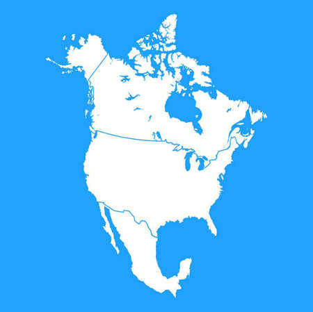 North America map including US, Mexico and Canada