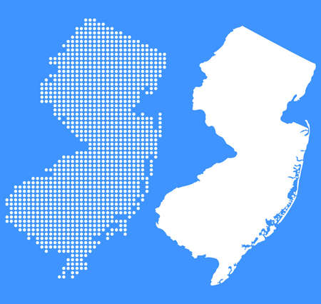 jersey city: Dotted and Silhouette New Jersey Map