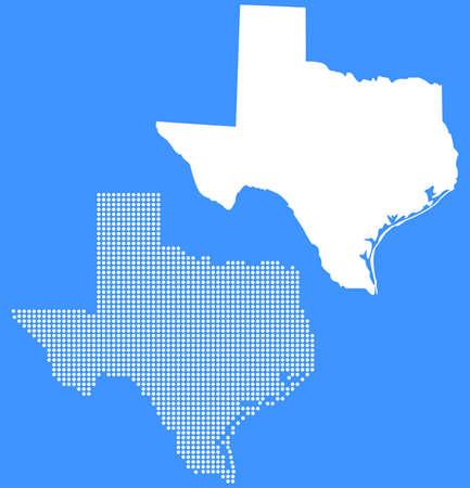 Gestippelde en Silhouette texas kaart Stock Illustratie