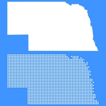 nebraska: Dotted and Silhouette Nebraska Map