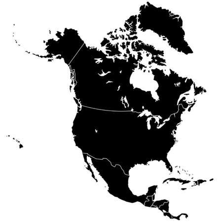 北アメリカ地図  イラスト・ベクター素材