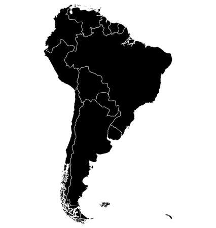 Map of South America. Separable Borders