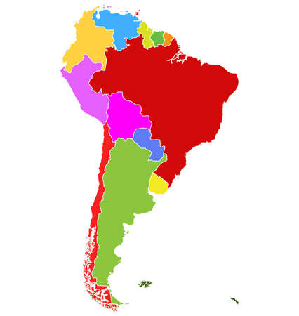 geographical locations: Map of South America. Separable Borders