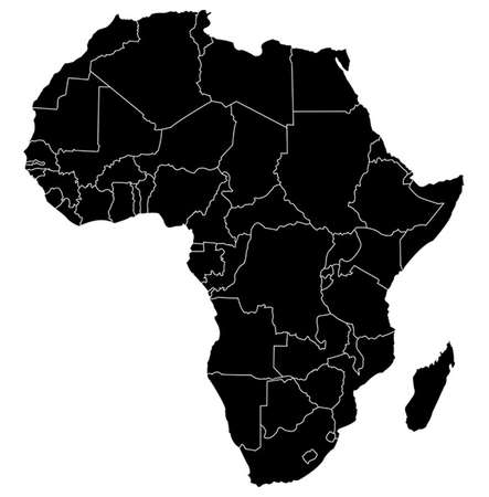Kaart van Afrika Stockfoto - 33444380